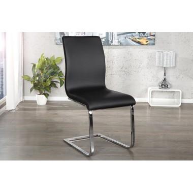 HAMPTON Krzesło do jadalni ze skóry syntetycznej czarne / 22123