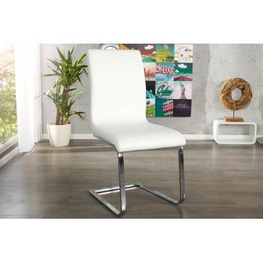 HAMPTON Krzesło do jadalni ze skóry syntetycznej białe / 22122
