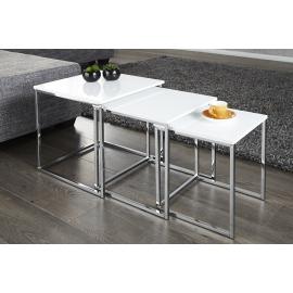 ELEMENTS Stolik kawowy Zestaw 3 stolików w kolorze białym / 11839