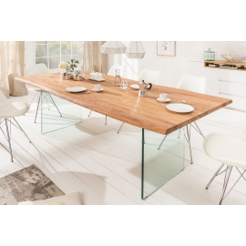 MAMMUT Stół do jadalni 200 cm akacja 35 mm szklana podstawa / 39333