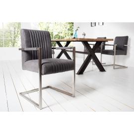 BIG ASTON Krzesło vintage szary z podłokietnikami Arml./ 39085