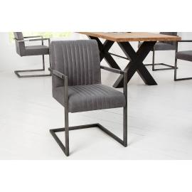 BIG ASTON Krzesło vintage szary z podłokietnikami Arml./ 39083