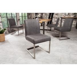 BIG ASTON Krzesło vintage szary / 38103
