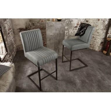 BIG ASTON Krzesło barowe / Hoker antyczny szary / 39057