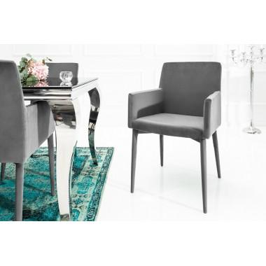 MILANO Krzesło szary podłokietnik aksamit / 38851