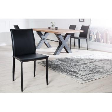 MILANO Krzesło czarne - skóra / 4139