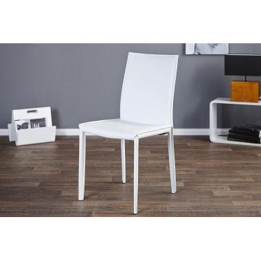 MILANO Krzesło białe skóra / 11565