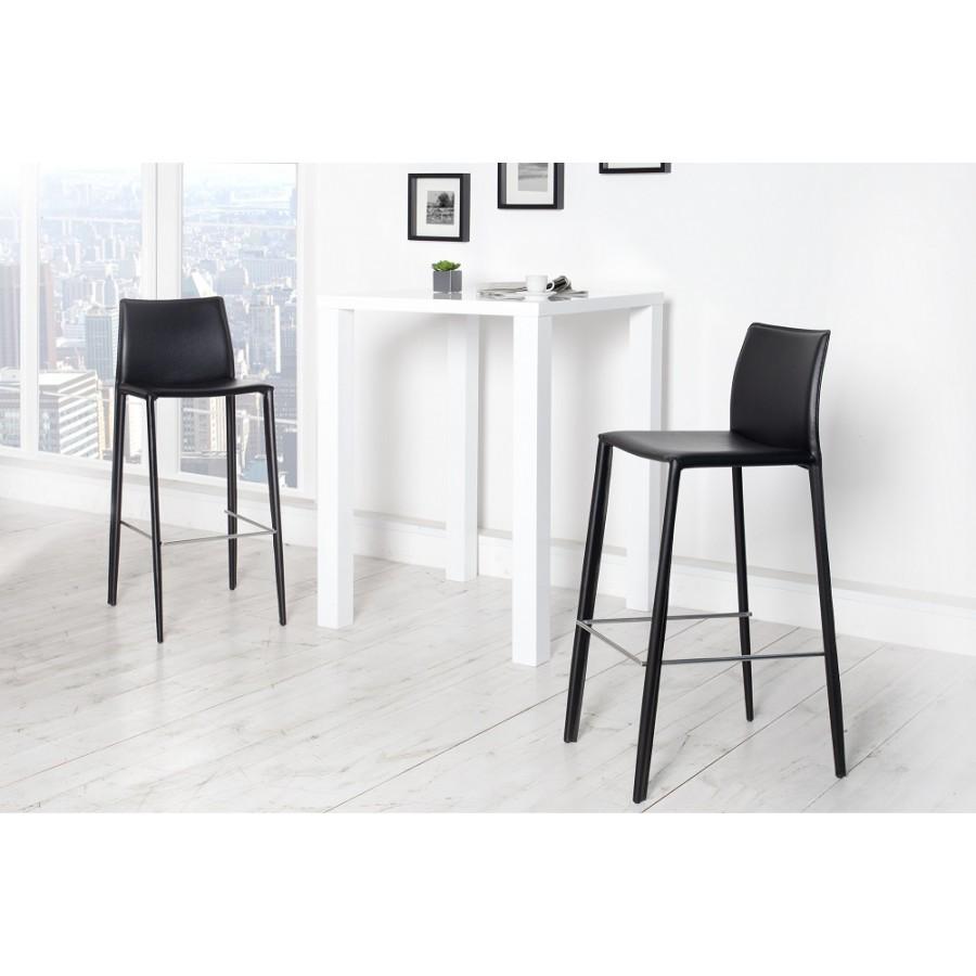 MILANO Krzesło barowe / Hoker czarny skóra / 35616