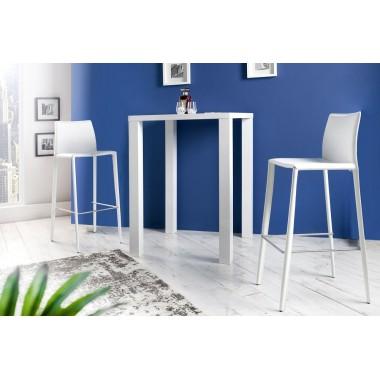MILANO Krzesło barowe / Hoker biały skóra / 35618