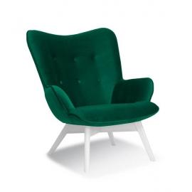 Fotel ANGEL zielony/ noga biała/ KR19