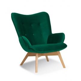 Fotel ANGEL zielony/ noga dąb/ KR19