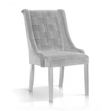 Krzesło Prince velvet srebrny/ noga biała/ BL03