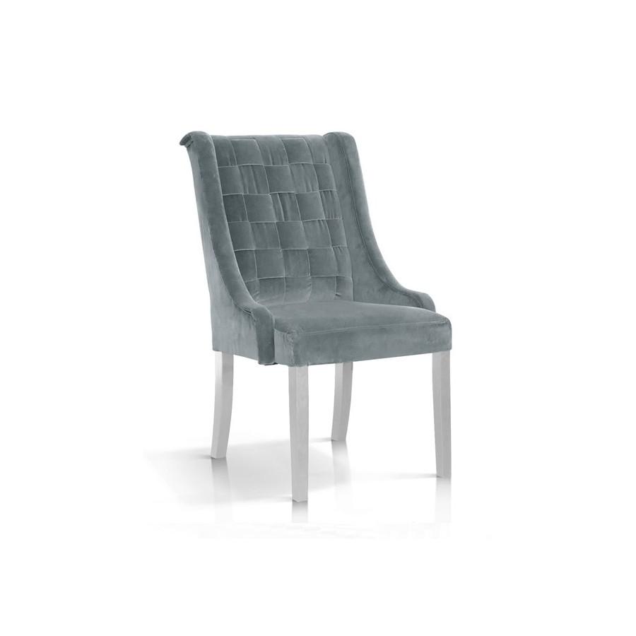 Krzesło Prince velvet szary/ noga biała/ BL14