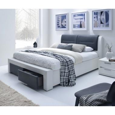 ŁOŻE CASSANDRA 140cm biało-szare z szufladami / MIT