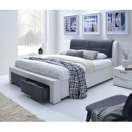 ŁOŻE CASSANDRA 14cm biało-szare z szufladami / MIT