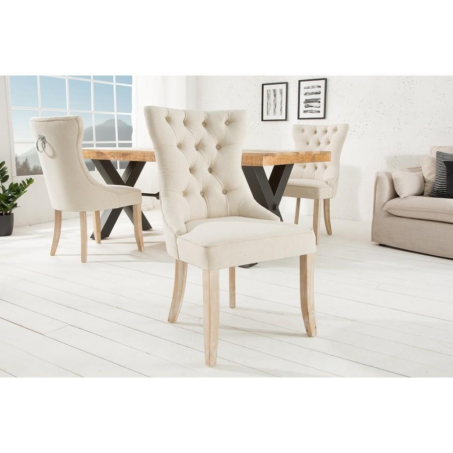 Krzesło CASTLE chesterfield beżowe płótno / 38587