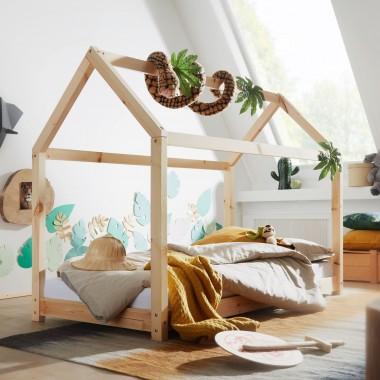 WOHNLING Domek Łóżeczko z drewna sosnowego 140x70 cm / SKYG