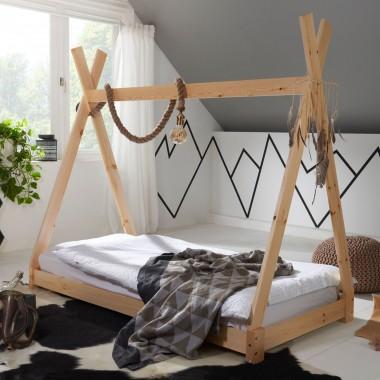 WOHNLING Łóżeczko dziecięce 160x80 cm sosnowe tipi dla dzieci / SKYG