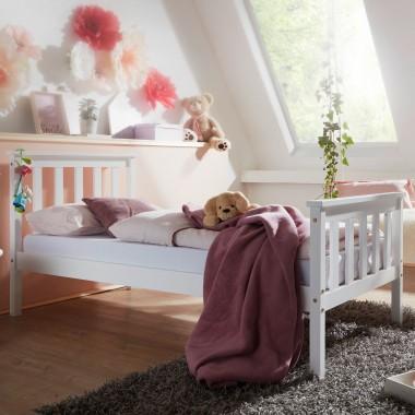 WOHNLING Łóżeczko dziecięce białe 140cm x 70cm / SKYG