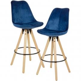 WOHNLING 2 stołki barowe stołek ciemnoniebieski aksamit z oparciem 77 cm / SKYG