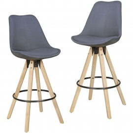 WOHNLING 2 stołki barowe stołek z tkaniny Curry z oparciem 77 cm / SKYG