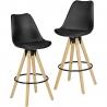 WOHNLING 2 stołki barowe Lima stołek z imitacją czarnej skóry w stylu retro z oparciem 77 cm / SKYG