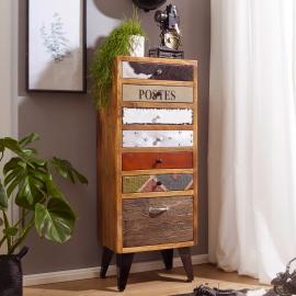 WOHNLING KOMODA NEPAL COLORFULL MODEL 120cm z litego drewna z 3 szufladami / SKYG