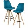 WOHNLING 2 stołki barowe stołek z tkaniny kolor benzynowy z oparciem 77 cm / SKYG