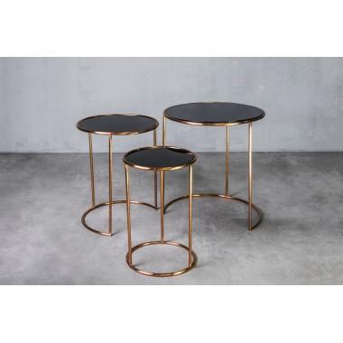 """Stolik kawowy Zestaw 3 stolików DAVAO w kolorze """"Golden Mirror"""" / GILLI"""