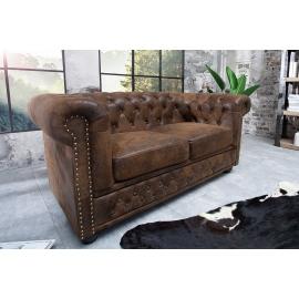Sofa CHESTERFIELD 2 osobowa brązowy antyczny wygląd / 17109