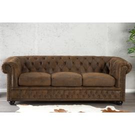 Sofa CHESTERFIELD 3 osobowa brązowy antyk / 17382