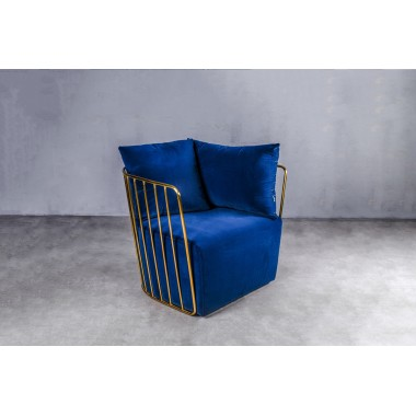 Fotel welurowy LAO 1S Deep Blue ciemnoniebieski 72cm / GILLI