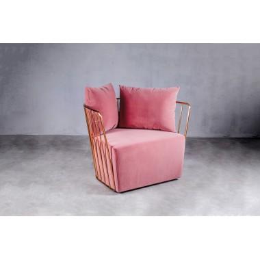 Fotel welurowy LAO 1S Blush Pink ciemnoróżowy 72cm / GILLI