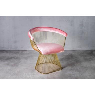 Fotel welurowy PRASLIN Candy Pink jasnoróżowy 53cm / GILLI