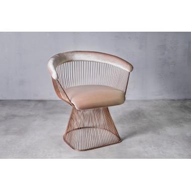 Fotel aksamitny PRASLIN Skin Beige 53cm beżowy / GILLI