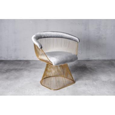 Fotel aksamitny PRASLIN Cool Grey jasnoszary 53cm / GILLI