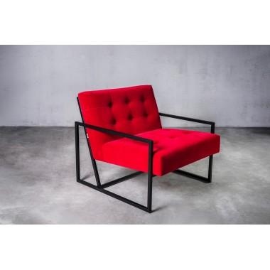 Fotel welurowy KRABI 1S in Red Red czerwony 71cm / GILLI GILLI