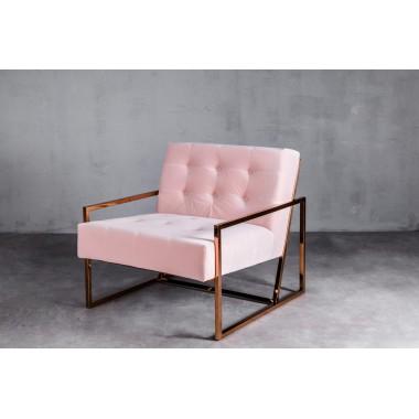 Fotel aksamitny KRABI 1S Baby Pink jasnoróżowy 71cm / GILLI