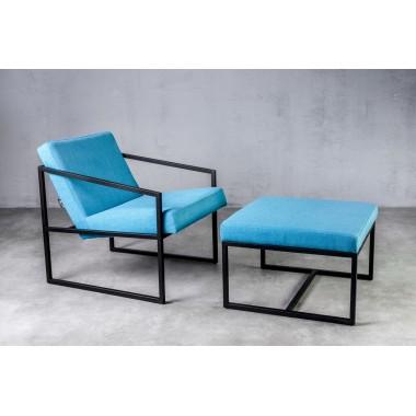 Fotel z podnóżkiem lniany RIAU Bleu niebieski 71cm / GILLI