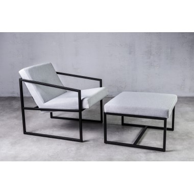 Fotel z podnóżkiem lniany RIAU Gris szary 71cm / GILLI