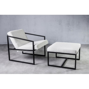 Fotel z podnóżkiem lniany RIAU Blanc jasnoszary 71cm / GILLI