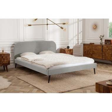 Łóżko tapicerowane FAMOUS 160cm srebrnoszary aksamit / 39697
