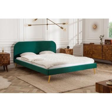 Łóżko tapicerowane FAMOUS 160cm szmaragdowo zielony aksamitny złoty / 39695