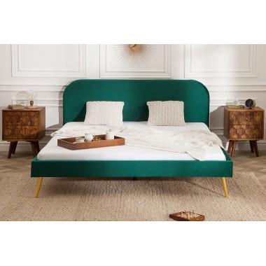 Łóżko tapicerowane FAMOUS 140cm szmaragdowo zielony aksamitny złoty / 39694