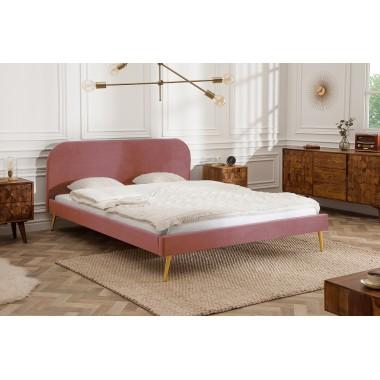 Łóżko tapicerowane FAMOUS 140cm stare różowe aksamitne złoto / 39693