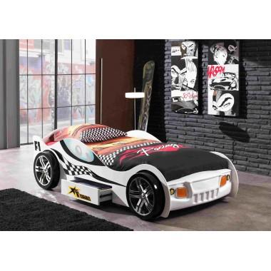 CAR BEDS Łóżko auto wyścigowe TURBO RACING WHITE / SCTR200W