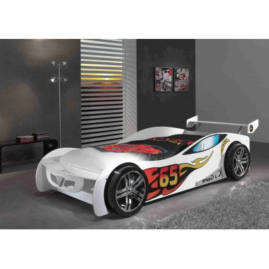 CAR BEDS Łóżko auto wyścigowe LEMANS WHITE / SCLM200W