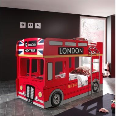 CAR BEDS Łóżko piętrowe dla dzieci LONDON BUS / SCBBLB