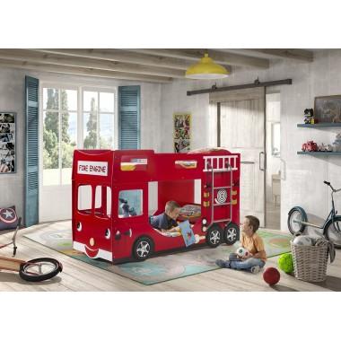 CAR BEDS Łóżko piętrowe dla dzieci FIRE TRUCK RED wóz strażacki / SCFBB19