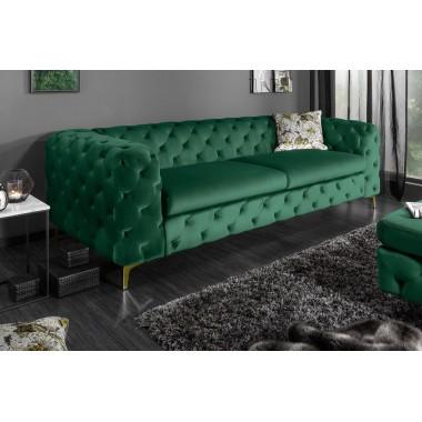 MODERN BAROCK Sofa 240 cm ciemnozielono złota / 39312